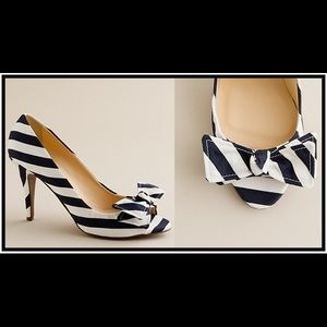 J. Crew Navy and White Striped Evie Heels Size 9